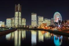 Minatomirai 21 áreas en el crepúsculo en Yokohama, Japón Fotos de archivo