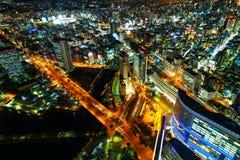 Minatomirai teren Z drapaczami chmur w wieczór Yokohama Niedalekim porcie Obrazy Stock