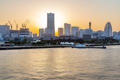 Minatomirai, Yokohama waterfront near sunset royalty free stock images