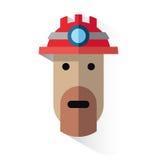 Minatore del fronte dell'icona con il casco Fotografie Stock