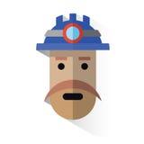 Minatore del fronte dell'icona con il casco Fotografia Stock