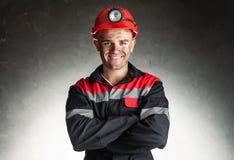 Minatore delle miniere di carbone sorridente immagini stock libere da diritti