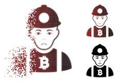 Minatore di semitono dissipato triste Icon di Bitcoin del pixel Immagine Stock Libera da Diritti