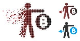 Minatore di semitono di dissoluzione Icon di Bitcoin del pixel Fotografia Stock Libera da Diritti