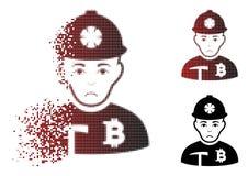 Minatore di semitono di dissoluzione triste Icon di Pixelated Bitcoin Immagine Stock Libera da Diritti
