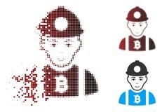 Minatore di semitono Icon di Bitcoin del pixel della polvere Fotografia Stock Libera da Diritti