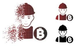 Minatore di semitono Icon di Bitcoin punteggiato polvere Fotografia Stock Libera da Diritti