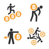 Minatore Vector Icon Set di Bitcoin Royalty Illustrazione gratis