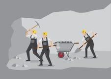 Minatori delle miniere di carbone che lavorano nell'illustrazione di vettore della miniera in sotterraneo Immagine Stock