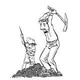 Minatori, prospettori o zappatori di oro con il piccone Estrazione mineraria del figlio e del padre r illustrazione di stock