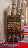 Minbar de madera, púlpito del sermón de los tiempos del otomano Imágenes de archivo libres de regalías