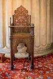 Minbar de madera, púlpito del sermón de los tiempos del otomano Imagen de archivo