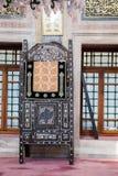 Minbar de madera, púlpito del sermón de los tiempos del otomano Fotografía de archivo libre de regalías