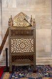 Minbar di legno, quadro di comando di sermone dei tempi dell'ottomano fotografie stock