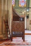 Minbar di legno, quadro di comando di sermone dei tempi dell'ottomano immagini stock