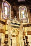 Minbar at Hagia Sophia. Gilded minbar at historical Hagia Sophia building in Istanbul Royalty Free Stock Photography