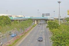 Minburi路街道视图泰国 免版税库存照片