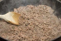 Mince browning in pan Stock Photography