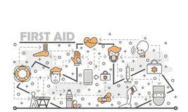 Mince calibre vecteur de bannière d'affiche de premiers secours de schéma illustration stock