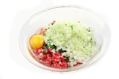Mince meat. With vegetables and egg Stock Photos