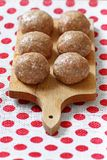 Mince meat balls. Six beef balls from minced meat laid on wooden cutting board Royalty Free Stock Image