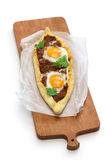 Mince meat pide, turkish pizza Stock Photos