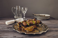 Mince meatball on a spit Royalty Free Stock Image