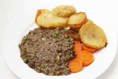 Mince with peas meal high angle view Stock Photos