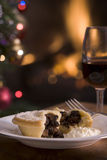 Mince Pie with Brandy cream and a Glass of Sherry Royalty Free Stock Image