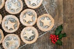 Mince pie casalinghi di Natale Fotografia Stock Libera da Diritti
