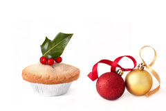 Mince Pie and Christmas Baubles Royalty Free Stock Image