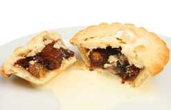 Mince pie and cream Royalty Free Stock Photography