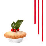 Mince Pie with Holly Stock Photo