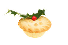 Mince pie with holly Stock Photography