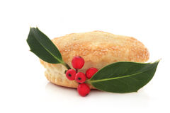 Mince Pie and Holly Stock Images