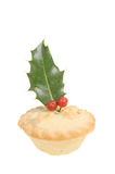 Mince pie with holly Royalty Free Stock Image