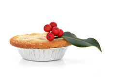 Mince Pie and Holly Royalty Free Stock Photos