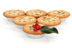 Mince Pie and Holly Stock Photos