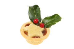 Mince pie with holly Royalty Free Stock Images