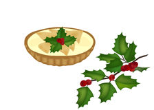 Mince pie and a  holy tree branch Royalty Free Stock Photos
