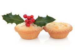 Mince Pie i holly Obrazy Royalty Free