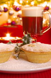 Christmas Mince Pie and Irish Coffee Stock Photography