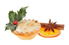 Mince pie pikantność i pomarańcze Obrazy Stock