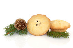Mince Pie and Pine Cone Royalty Free Stock Images