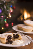 Mince Pie With Brandy Cream Stock Photos