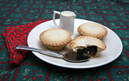Mince Pies 3. A tasty display of festive Christmas moince pies on a plate stock photo