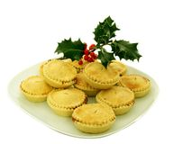 Mince pies. And holly taditional christmas time Royalty Free Stock Photography