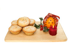 Mince pies on a board Royalty Free Stock Image
