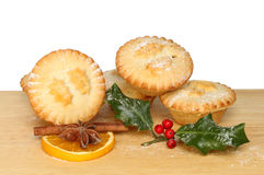 Mince pies on board Stock Photo