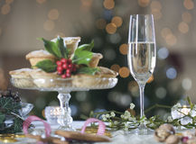 Mince pies and champagne Stock Photos